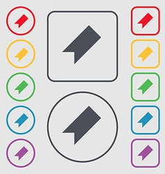 Bookmark icon sign symbol on the round and square vector