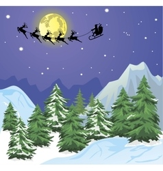 Santa s sleigh on moon background vector