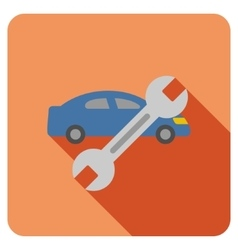 Car repair flat rounded square icon with long vector