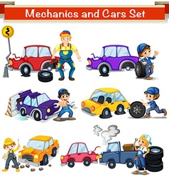 Mechanics and cars set vector