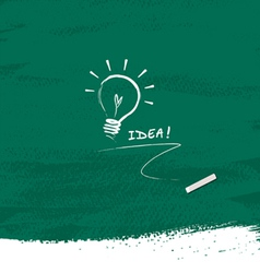 Drawing bulb light idea on blackboard background vector