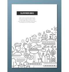 Summer barbecue and picnic line design poster vector