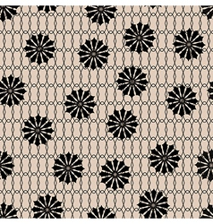 Black floral fishnet seamless lace pattern on beig vector image vector image