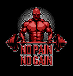 Bodybuilding poster in red vector