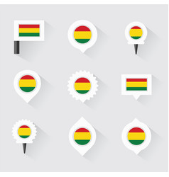 Bolivia flag and pins for infographic and map vector