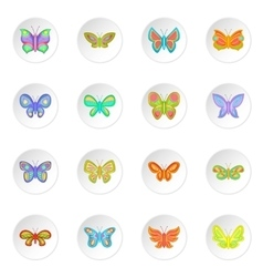 Butterfly fairy icons set vector