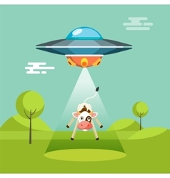 Cartoon funny aliens spaceship abducts the cow vector