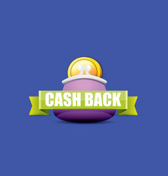 cash back icon with coins and wallet vector image vector image
