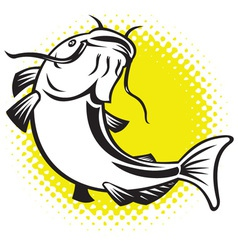catfish jumping up vector image vector image