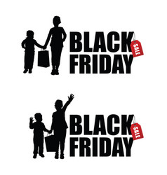 children silhouette with black friday and sale tag vector image