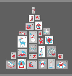 christmas advent calendar cute season decoration vector image