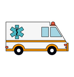 Color image cartoon ambulance truck with medical vector