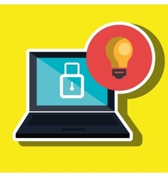 computer laptop with bulb light isolated icon vector image