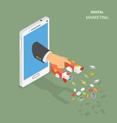 Digital marketing flat isometric concept vector