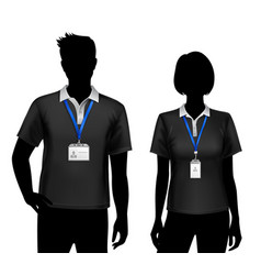 Employees silhouettes id cards badges vector