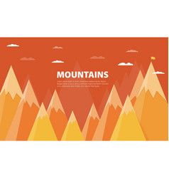 flat flag on mountain success goal achievement vector image