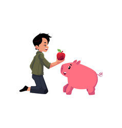 flat teen boy feeding small pig vector image