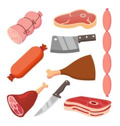 fresh meat set sausages knife flat food vector image