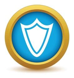 Gold shield icon vector