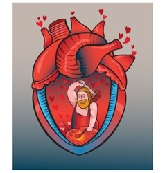 Heart fights rhythmically with blows of a hammer vector image