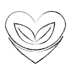 heart with leafs plant icon vector image