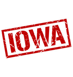 Iowa red square stamp vector
