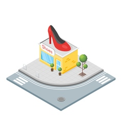 Isometric 3d of shoes shop vector image