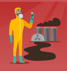 Man in radiation protective suit with test tube vector