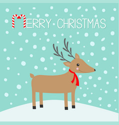 Merry christmas candy cane cute cartoon deer with vector