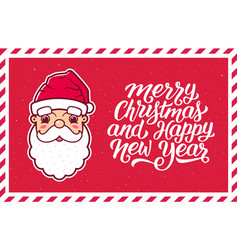 merry christmas text and santa claus face in frame vector image vector image