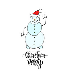 New year greeting card with dancing snowman vector