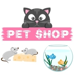 Pet shop emblem banner with name of animal store vector