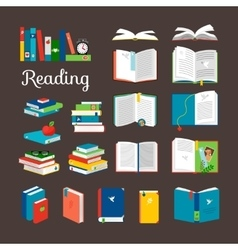 Reading book cartoon icons set vector image vector image