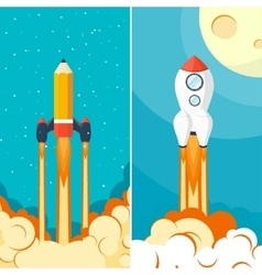 Rocket ship launch space travel start up vector