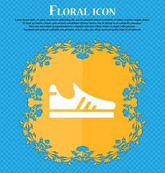 Running shoe icon sign floral flat design on a vector