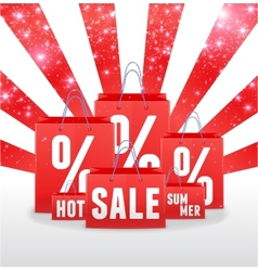 Sale sparkling template with shopping bags vector image