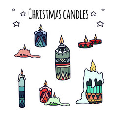 Set of colorful hand-drawn doodle christmas vector