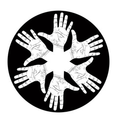 Six open hands abstract symbol detailed black and vector image vector image