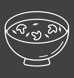 soup line icon food and drink bowl sign vector image vector image
