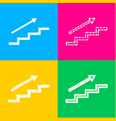 Stair with arrow four styles of icon on four vector