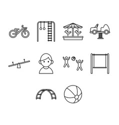 Thin line kid icon set vector