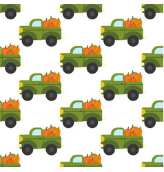 truck with pumpkins pattern vector image