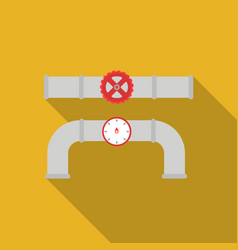 Valve and meter icon in flat style isolated on vector