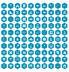 100 kids icons sapphirine violet vector image vector image