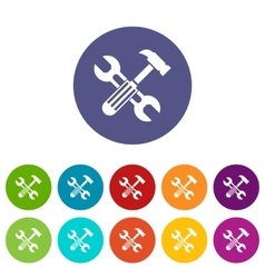 Hammer and screw wrench set icons vector