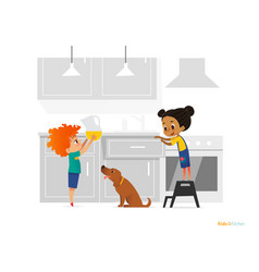 Two kids cooking morning breakfast in kitchen vector