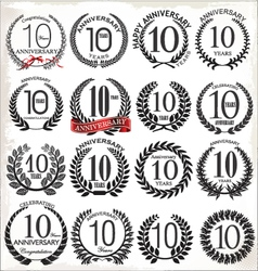 10 years anniversary laurel wreaths vector image