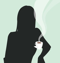 A girl with a cup of coffee vector
