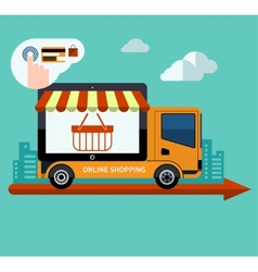 Flat design online shopping and delivery concept vector