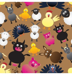 Colorful farm animals simple icons seamless vector